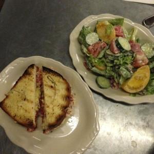 part and labor cheese burger and salad