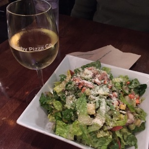 Bagby Pizza Salad and White Wine