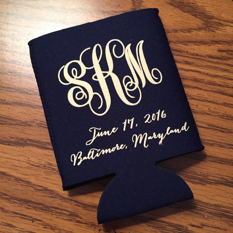 Monogrammed Koozies For Weddings Mini Bridal